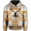 Akita Face All Over Print Full Zip Hoodie ZEUS281210