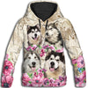Alaskan Malamute Flower All Over Print Hoodie ZEUS060131