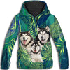 Alaskan Malamute Flower Pattern 1 All Over Print Hoodie ZEUS1201