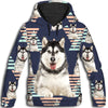 Alaskan Malamute Flower Pattern 3 All Over Print Hoodie ZEUS1201