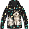 Alaskan Malamute Flower Pattern 4 All Over Print Hoodie ZEUS1201