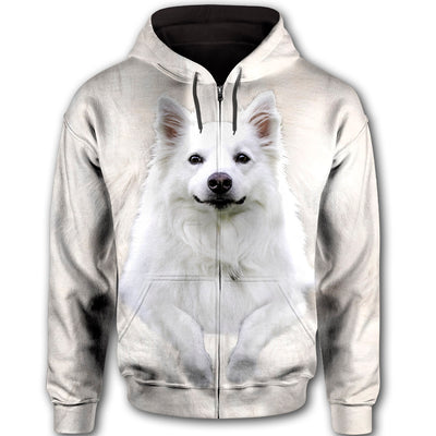 American Eskimo Dog Face All Over Print Full Zip Hoodie ZEUS030101