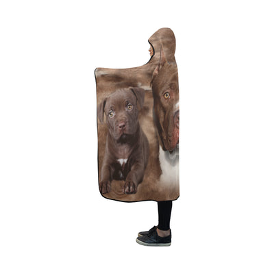 American Pit Bull Terrier Face Hooded Blanket ZEUS2901