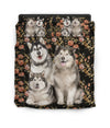 Alaskan Malamute Flower Pattern Bedding 4