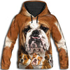 Bulldog Awesome All Over Print Hoodie