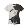 Cat Yinyang 0308 All Over Print T-Shirt for Women