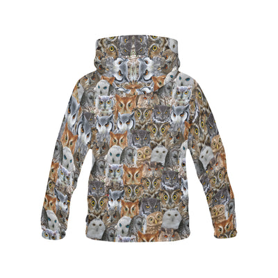 Owl's Face All Over Print Hoodie