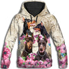 Doberman Pinscher Flower All Over Print Hoodie ZEUS291253