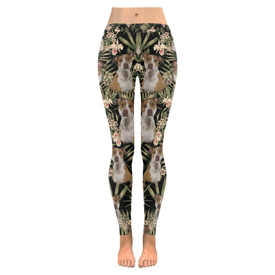 American Staffordshire Terrier Flower Pattern 1 Low Rise Leggings ZEUS1001