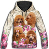 Poodle Flower All Over Print Hoodie ZEUS291254