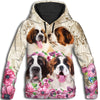 Saint Bernard Flower All Over Print Hoodie ZEUS060129