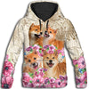 Shiba Inu Flower All Over Print Hoodie for Men (USA Size) (Model H13)