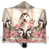 Siberian Husky Flower Hooded Blanket GAEA0302
