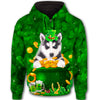Siberian Husky Lucky Leaf All Over Print Full Zip Hoodie GAEA180118