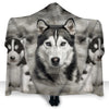 Siberian Husky Face Hooded Blanket ZEUS2401