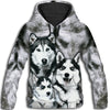 Siberian Husky Family All Over Print Hoodie