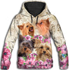 Yorkshire Terrier Flower All Over Print Hoodie ZEUS291256