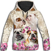 Bulldog Flower All Over Print Hoodie ZEUS2512