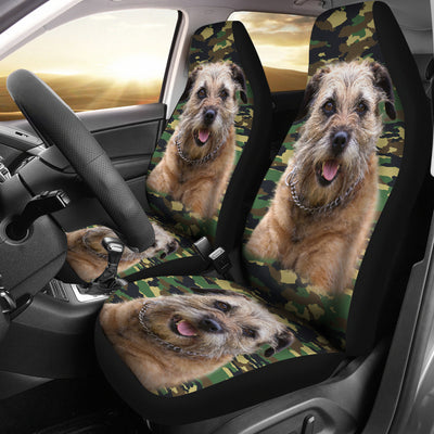 Border Terrier Camo Car Seat Covers 2103