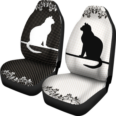 BLACK AND WHITE CATS CAR SEAT COVERS 3103