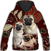Pug Leaves Pattern All Over Print Hoodie ZEUS090102