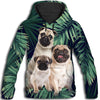 Pug Long Leaves Pattern All Over Print Hoodie for Men ZEUS090103