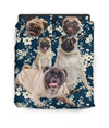 Pug White Flower Bedding ZEUS100108