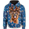 German Shepherd Blue Pattern All Over Print Full Zip Hoodie ZEUS090118