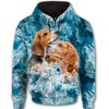 Beagle Soft Cute All Over Print Full Zip Hoodie for Men (Model H14)