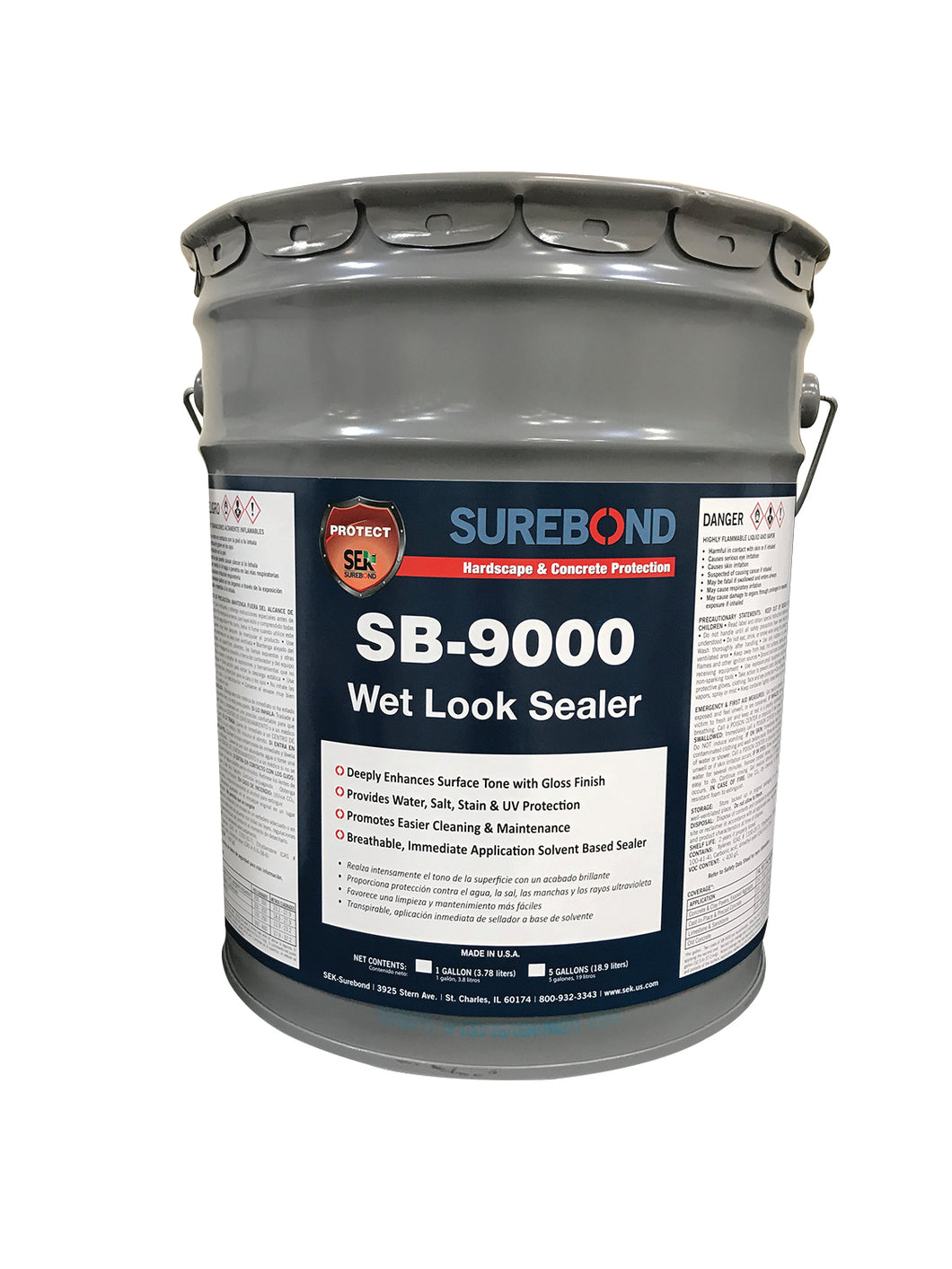Surebond 9000 - Solvent Based Wet Look Sealer High Gloss (5 Gallons)