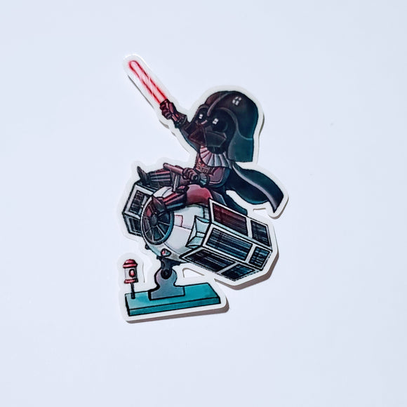 Darth Vader on Tie Fighter Sticker