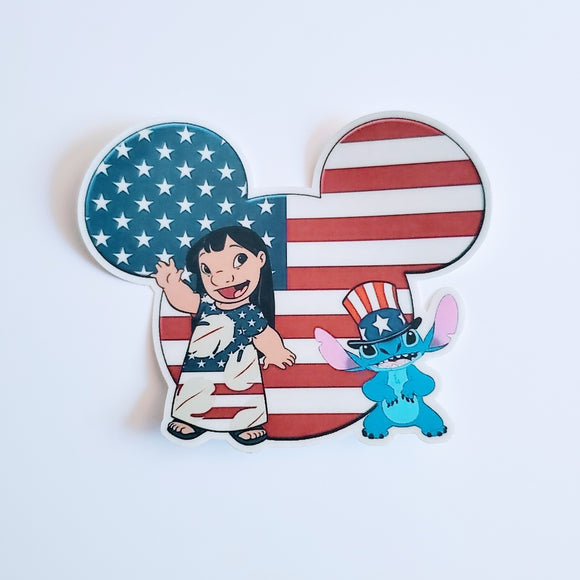 Patriotic Lilo and Stitch Sticker