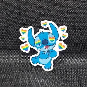 Stitch Pride Hearts Sticker