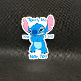Touch me and I Will Bite You Stitch Sticker
