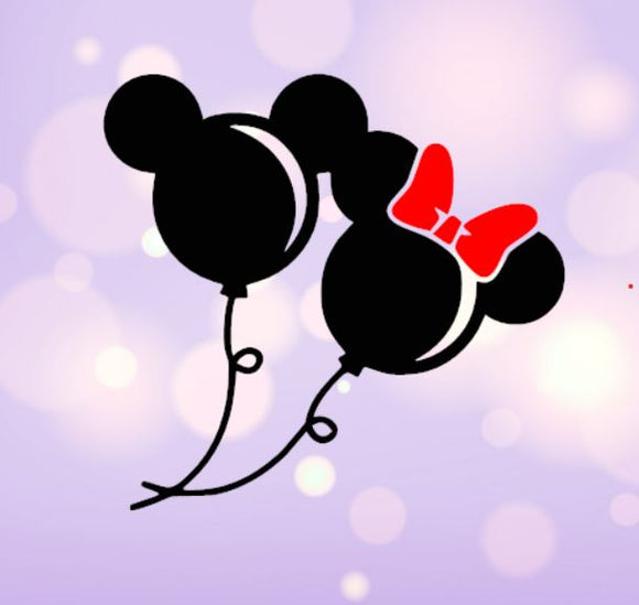 Mickey and Minnie Balloon Decal