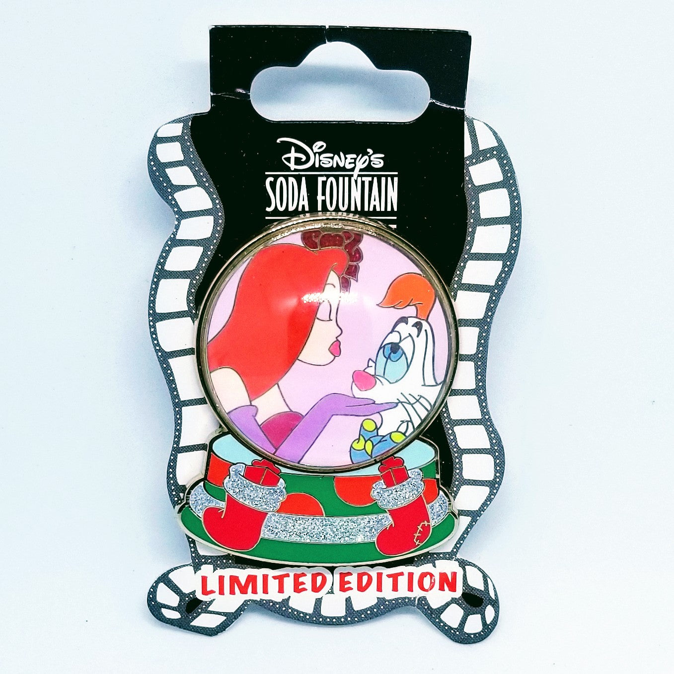 Jessica and Roger Rabbit Snow Globe Pin