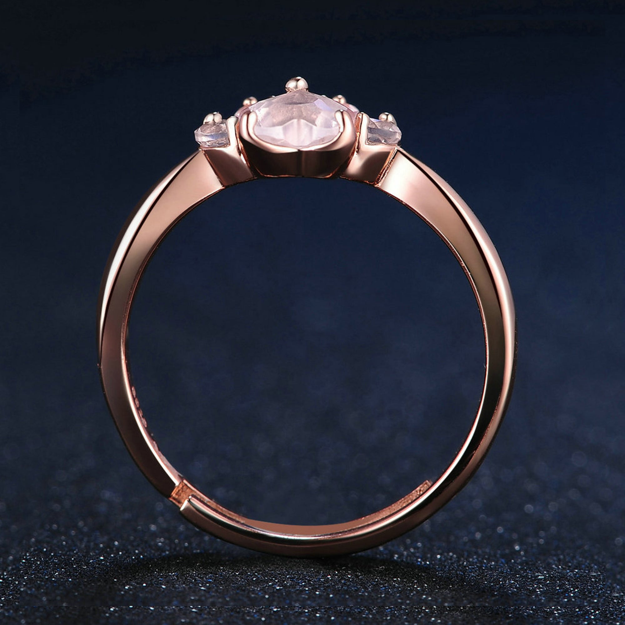 collections layered carat cz charm rings rose ring solitaire quartz wedding