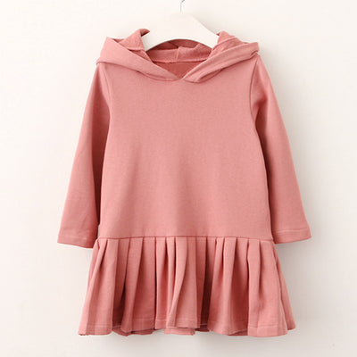 Girls Dress Blouse Rabbit Ears Hooded Ruched Long Sleeve Children Clothing 2 6Y