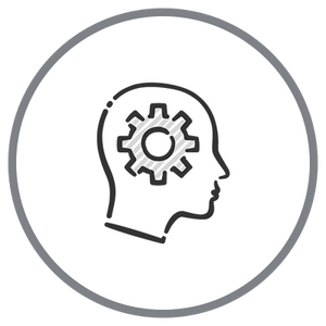 Smart Design Icon - Cog in Head Outline