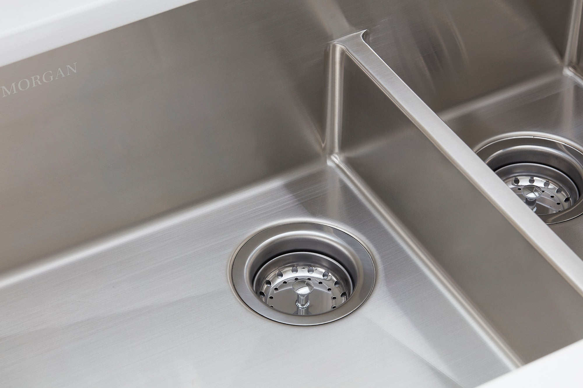 Morgan Tap and Basin Double Bowl Undermount Sink Offset Drain Close-up