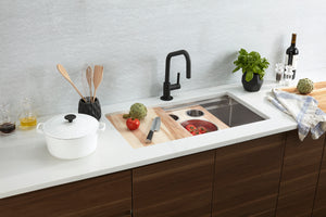 Morgan Tap and Basin 34.5in Stainless Steel Workstation Sink with Cutting Board and Accessory Tray