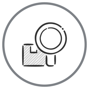 Transparent Manufacturing Icon - Magnifying Glass with Box outline