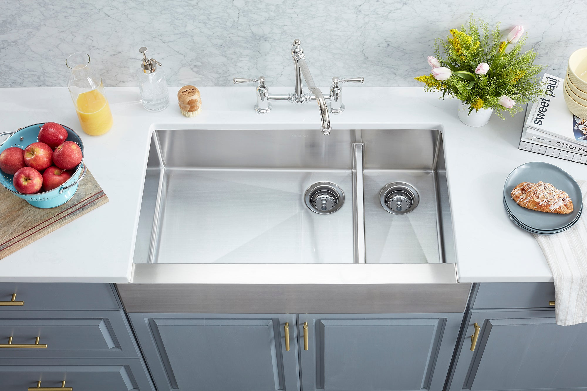 Morgan Tap and Basin Sullivan Series 34.5 inch Apron Front Stainless Steel Double Bowl Kitchen Sink with Offset Corner Drain