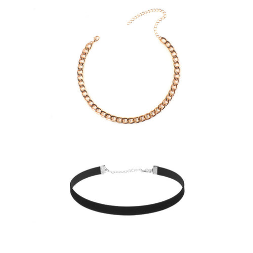 Jane - Chain Velvet Combination Necklace - JunoJuly