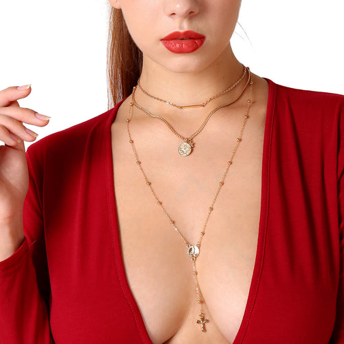 Becky - Cross Pendants Multi-layered Clavicle Necklace - JunoJuly