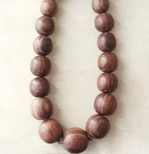 Natural Wood Imperfect Bead Necklace