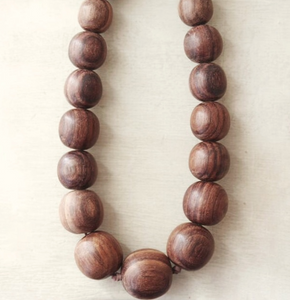 Natural Wood Imperfect Bead Necklace - HeyMoon