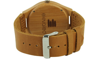 ABC BAMBOO WATCH LEATHER STRAP ELEVATED SHADES