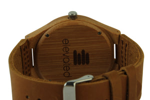 ABC~MEN'S BAMBOO WATCH WITH SOFT GENUINE LEATHER