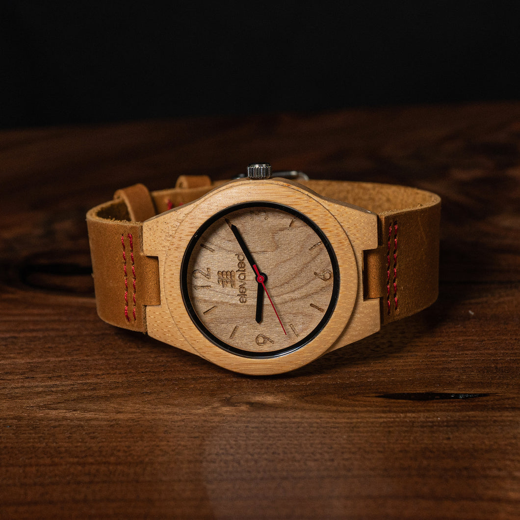 The Provincial~Ladies bamboo watch with genuine leather strap
